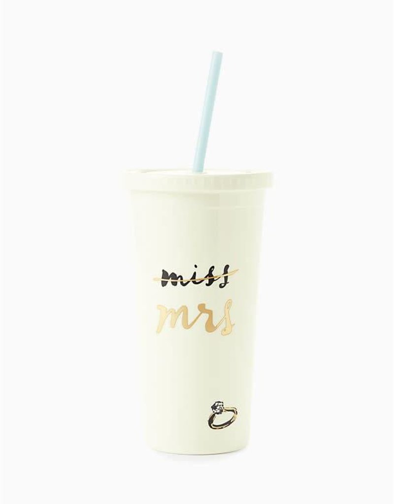 KATE SPADE Insulated Tumbler with Straw, Miss to Mrs.
