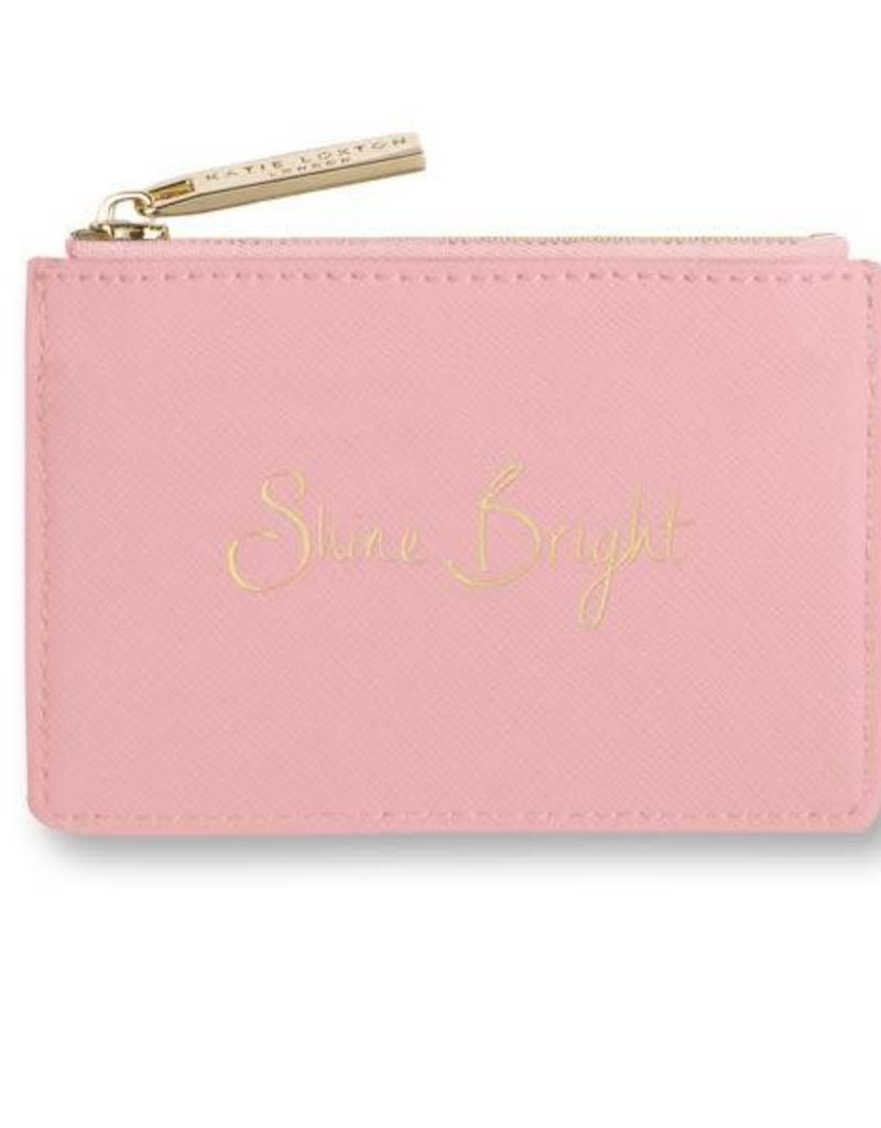 KATIE LOXTON KLB278 CARD HOLDER WITH SMALL ZIP FOR COINS - SHINE BRIGHT - PINK - 7.7X10.7 X1.3CM