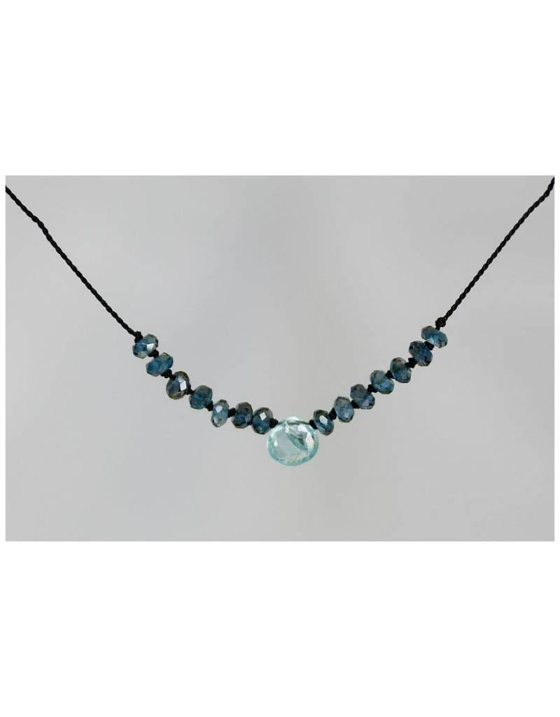 B U XCAPLB/BU APATITE AND LONDON BLUE TOPAZ ON SILK CORD