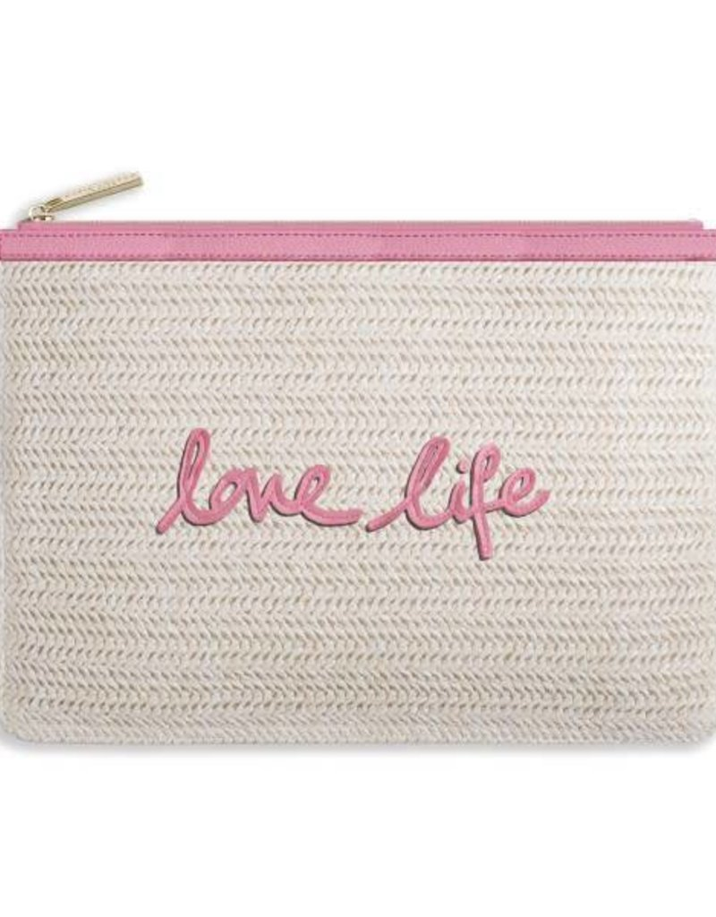 KATIE LOXTON KLB273 COCO CLUTCH - LOVE LIFE - LARGE STRAW CLUTCH - PINK