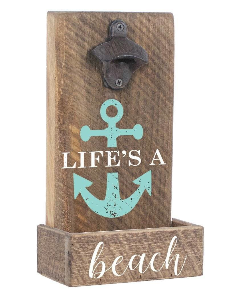 RUSTIC MARLIN Bottle Opener Life's A Beach - Natural, White, Sea Glass