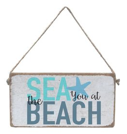 RUSTIC MARLIN Mini Plank Sea You at the Beach - White, Sea Glass,