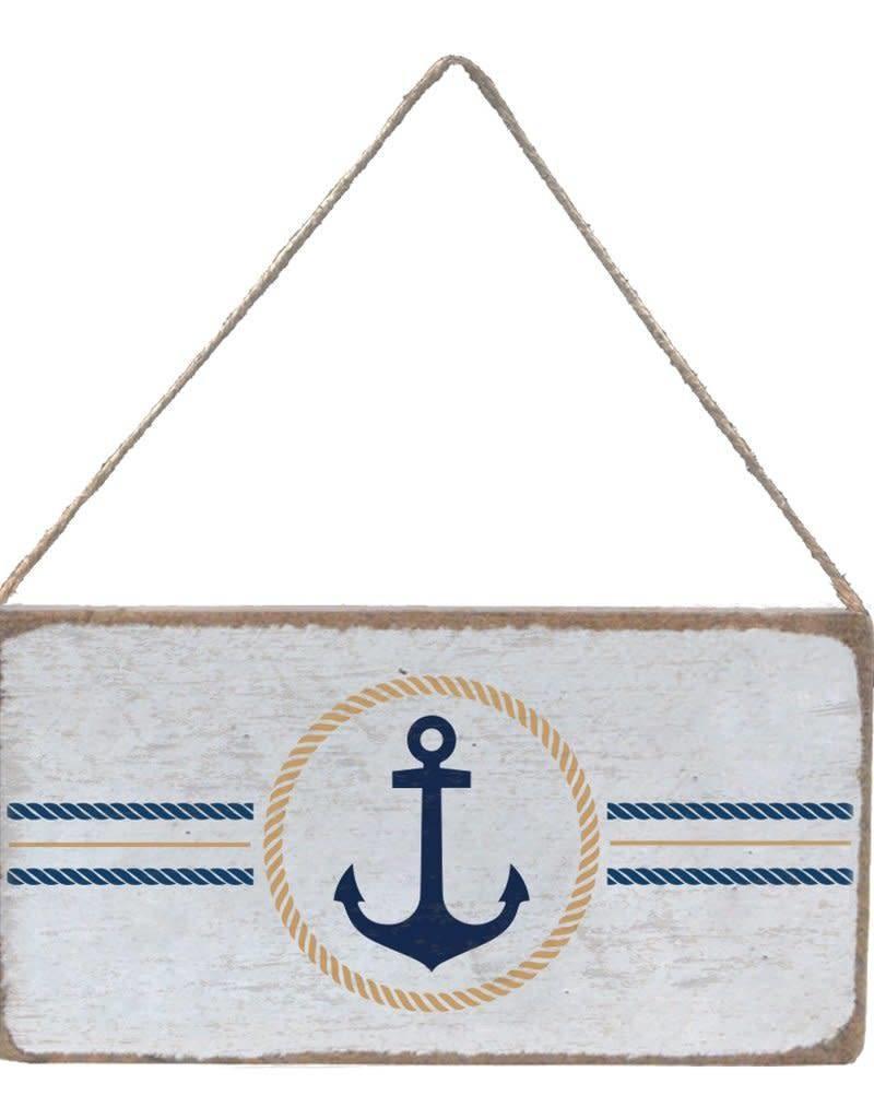 RUSTIC MARLIN Mini Plank Circle Anchor - White, Gold, Navy