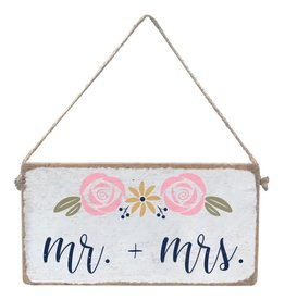 RUSTIC MARLIN Mini Plank Rosettes Mr + Mrs. - White, Navy, Multi