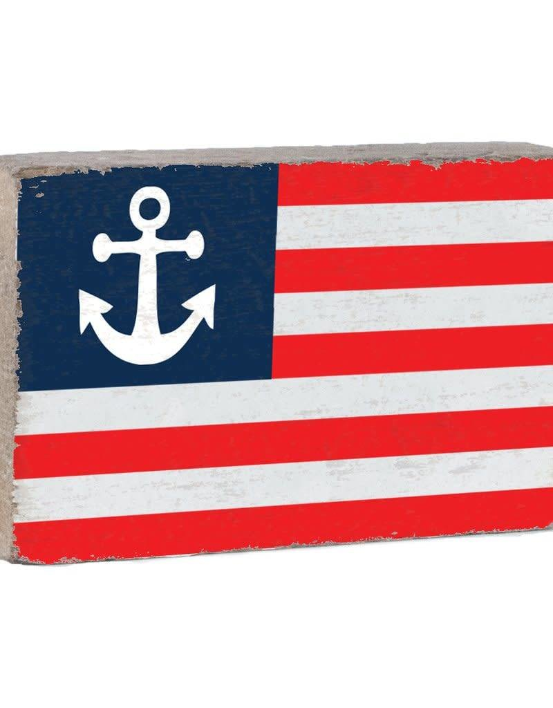 RUSTIC MARLIN XL Rustic Block Anchor Flag - White, Red, Navy