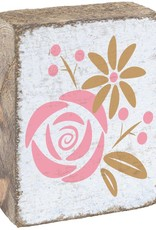 RUSTIC MARLIN Rustic Block Rosettes - White, Pink, Gold