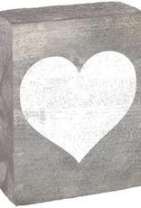 RUSTIC MARLIN Rustic Block Heart - Grey Wash, White