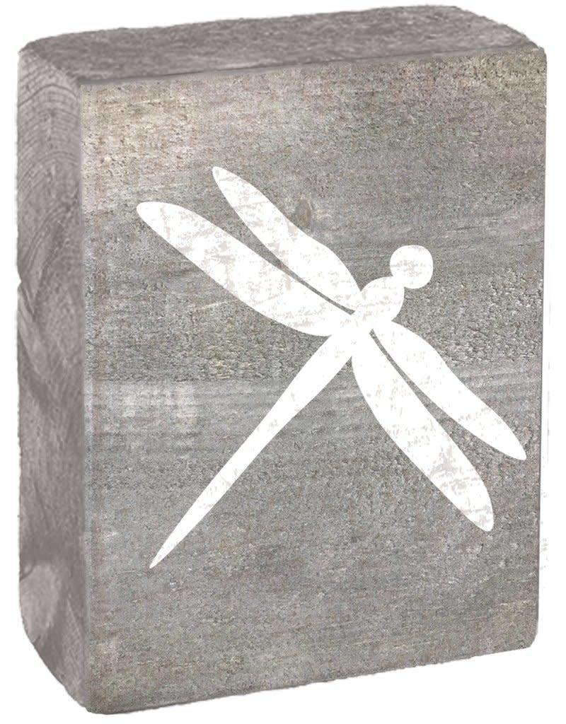 RUSTIC MARLIN Rustic Block Dragonfly - Grey Wash,  White