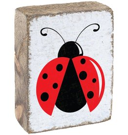 RUSTIC MARLIN Rustic Block Ladybug - White, Red, Black