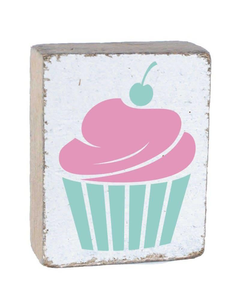 Rustic Marlin Rustic Block Cupcake White Pink Sea Glass