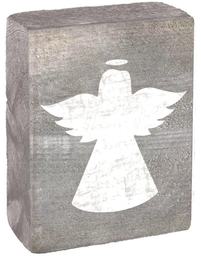 RUSTIC MARLIN Rustic Block Angel - Grey Wash, White