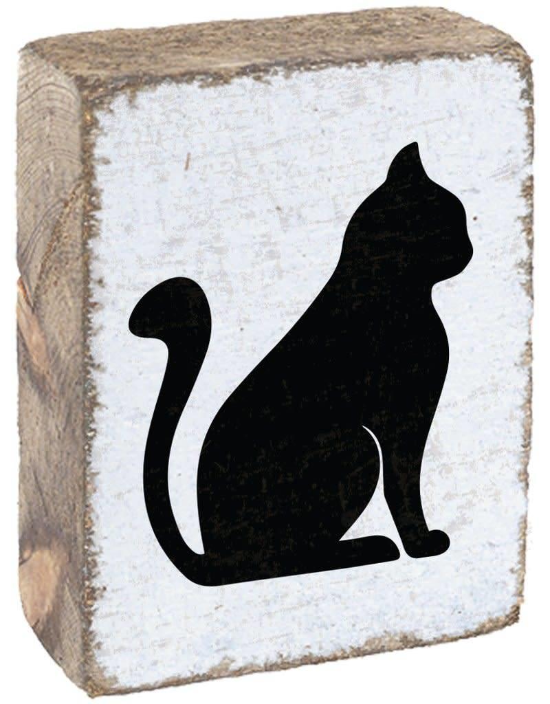 RUSTIC MARLIN Rustic Block Cat - White, Black