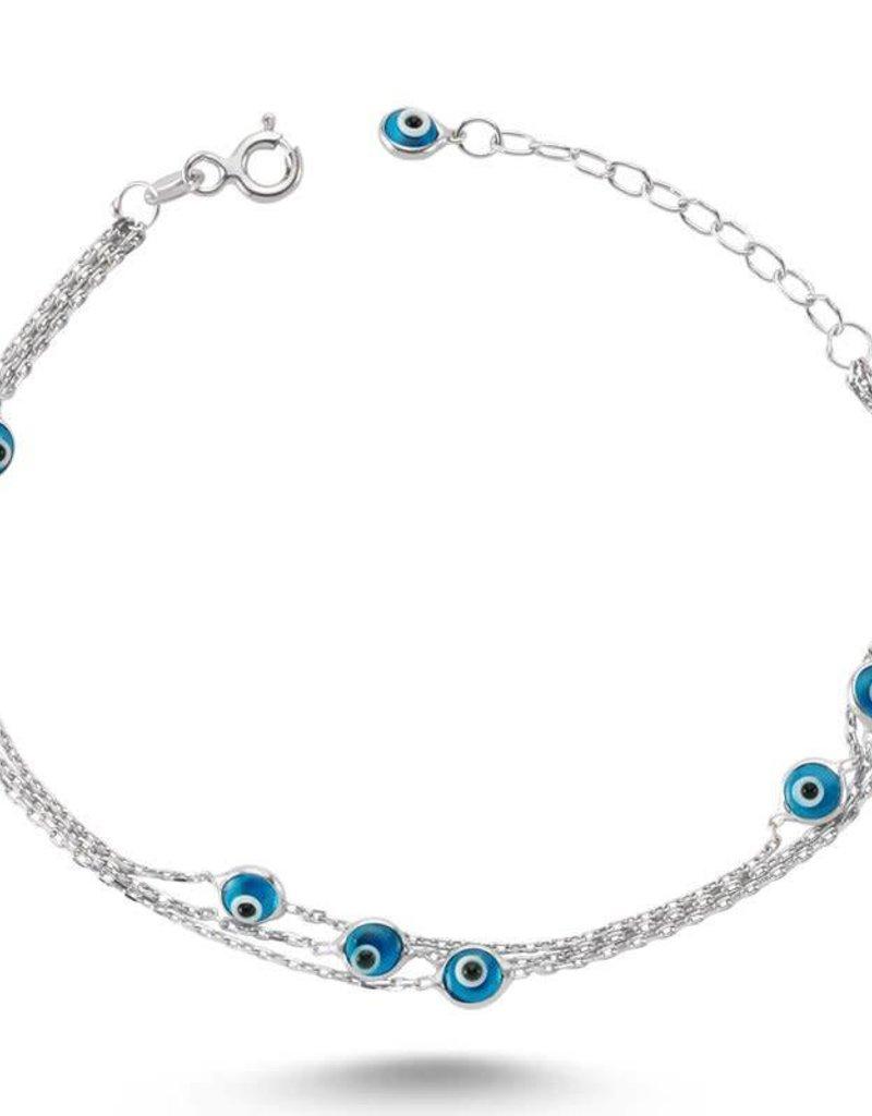 Amorium 1323 1139 Light Blue Evil Eye Bracelet In Silver