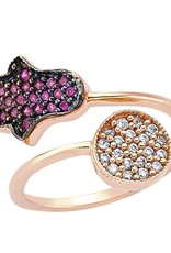AMORIUM 4381-0948 ROSE GOLD HAMSA AND CIRCLE RING