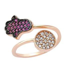 AMORIUM 4381-0948 ROSE GOLD HAMSA AND CIRCLE RING