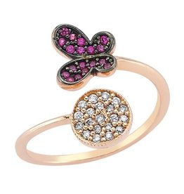 AMORIUM 4381-0949 ROSE GOLD BUTTERFLY AND CIRCLE RING