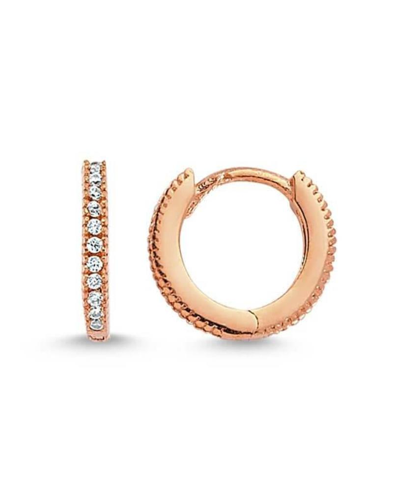 AMORIUM 2331-1496 MINI DIAMOND LEXI HOOPS IN ROSE GOLD