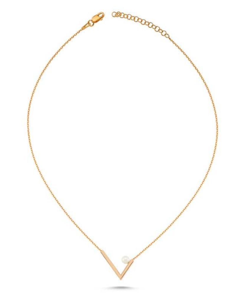 AMORIUM 3301-1560 LYRA V NECKLACE ROSE GOLD