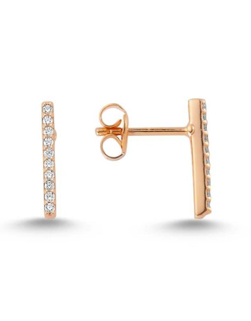 Amorium 2331 1112 Rose Gold Bar Earrings