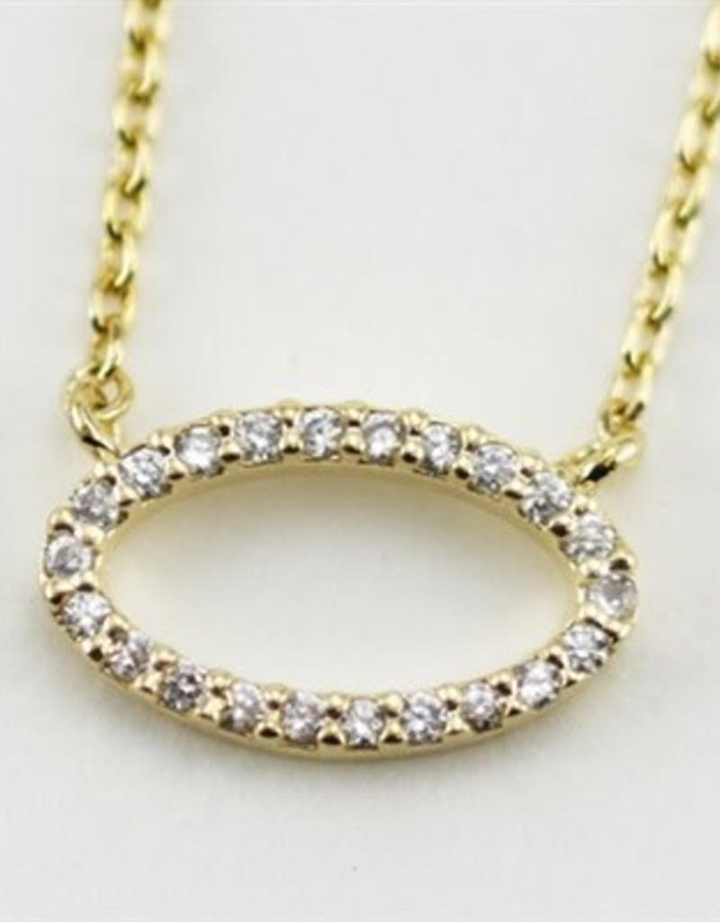 24665 GOLD OVAL WHITE CZ NECKLACE