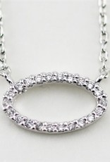 24664 SILVER OVAL WHITE CZ NECKLACE