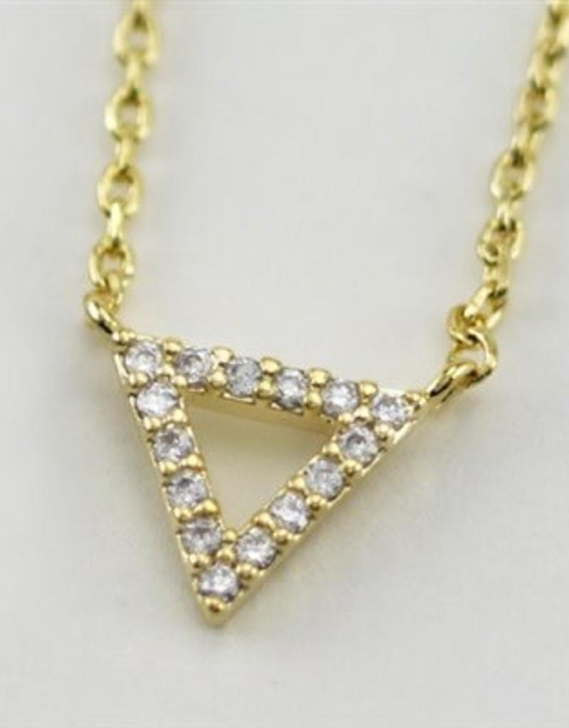 24660 GOLD TRIANGLE WHITE CZ NECKLACE