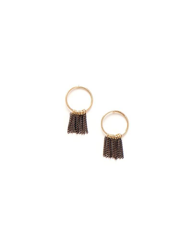 LOVERS TEMPO 1FW17018-BLK OLYMPIA FRINGE HOOP EARRINGS - BLACK