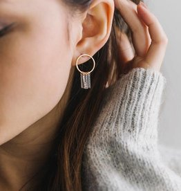 LOVERS TEMPO 1FW17018-GRY OLYMPIA FRINGE HOOP EARRINGS - GREY