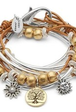 LIZZY JAMES BOHO TOL TRIO MET SUN SIZE LARGE GOLD BEADS, GOLD AND SILVER TREE OF LIFE TRIO