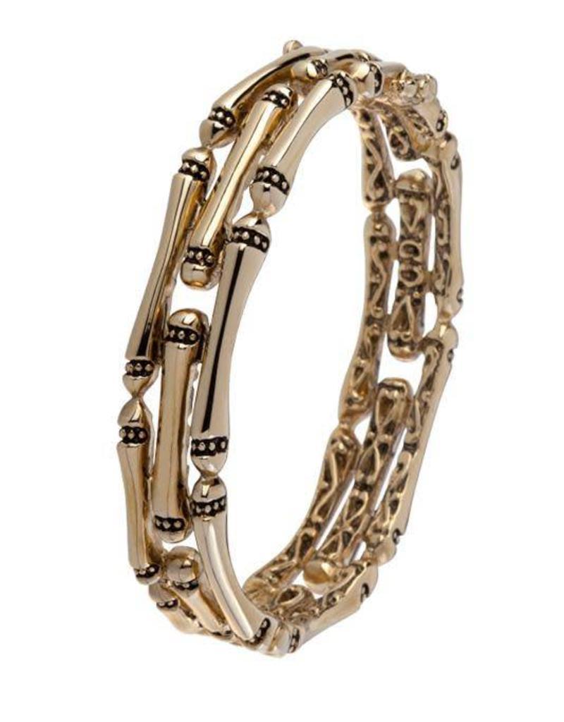 JOHN MEDEIROS B4065-G000 CANIAS GOLD 3 ROW HINGED BRACELET GOLD
