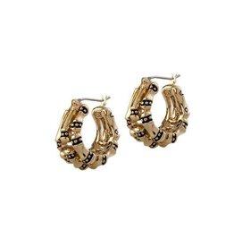 JOHN MEDEIROS G5003-G000 CANIAS GOLD 3 ROW HOOP EARRINGS GOLD