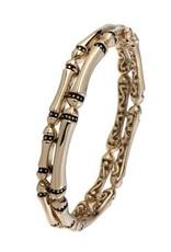 JOHN MEDEIROS B4066-G00L CANIAS GOLD 2 ROW HINGED BRACELET GOLD