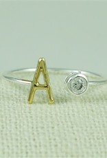 GOLD INITIAL ADJUSTABLE RING