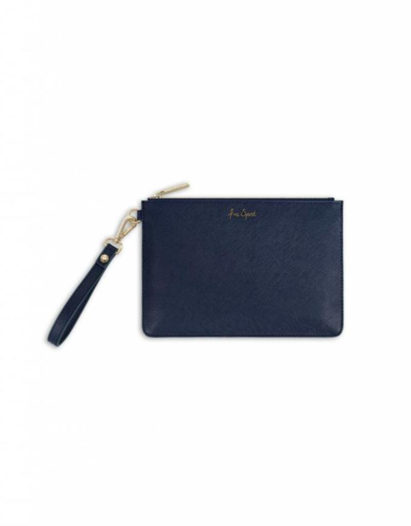 KATIE LOXTON *KLB366 SECRET MESSAGE POUCH - FREE SPIRIT/THE WORLD IS YOUR OYSTER - NAVY