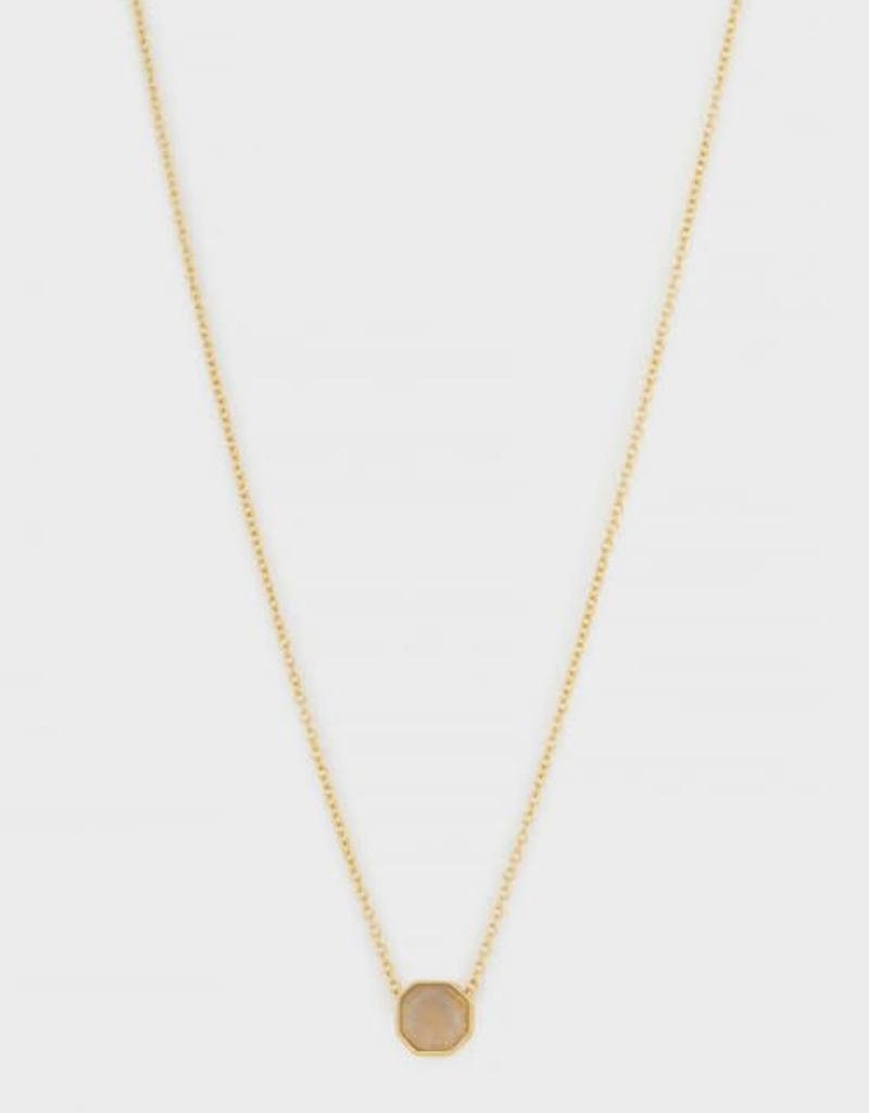 GORJANA 189-101-29- G-PKG Power Gemstone Charm Adjustable Necklace (black onyx) (gold) (envelope)