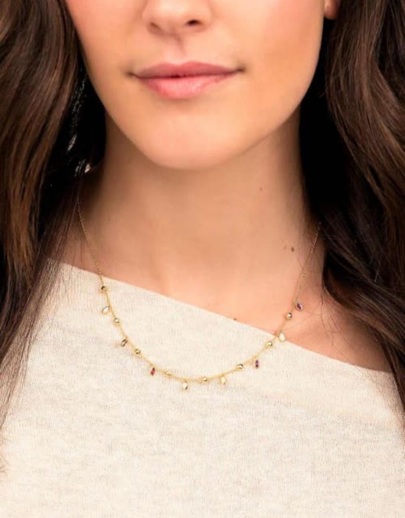 GORJANA 185-114-160 -G Rumi Confetti Adjustable Necklace (white cz / white opalite) (gold)