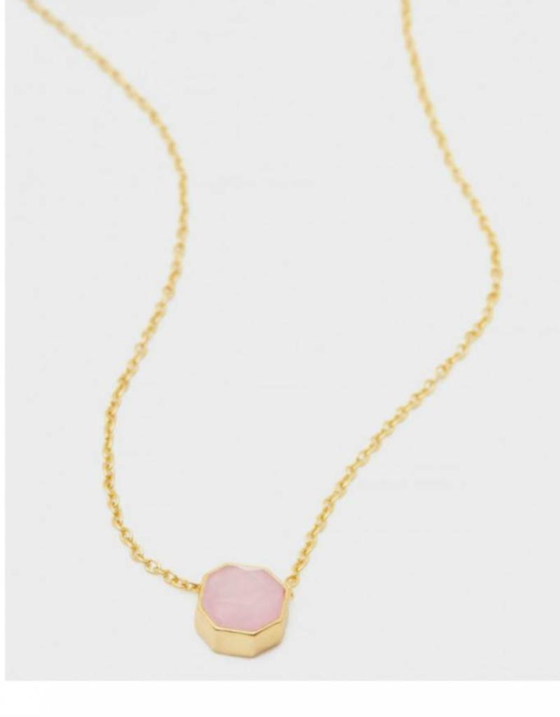 GORJANA 189-101-31- G-PKG Power Gemstone Charm Adjustable Necklace (rose quartz) (gold) (envelope)