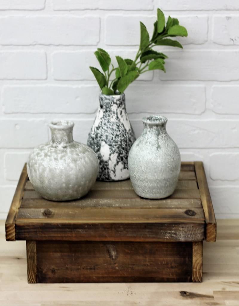 Gray Distressed Terra Cotta Vases (set)