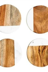Round Marble/wood coasters