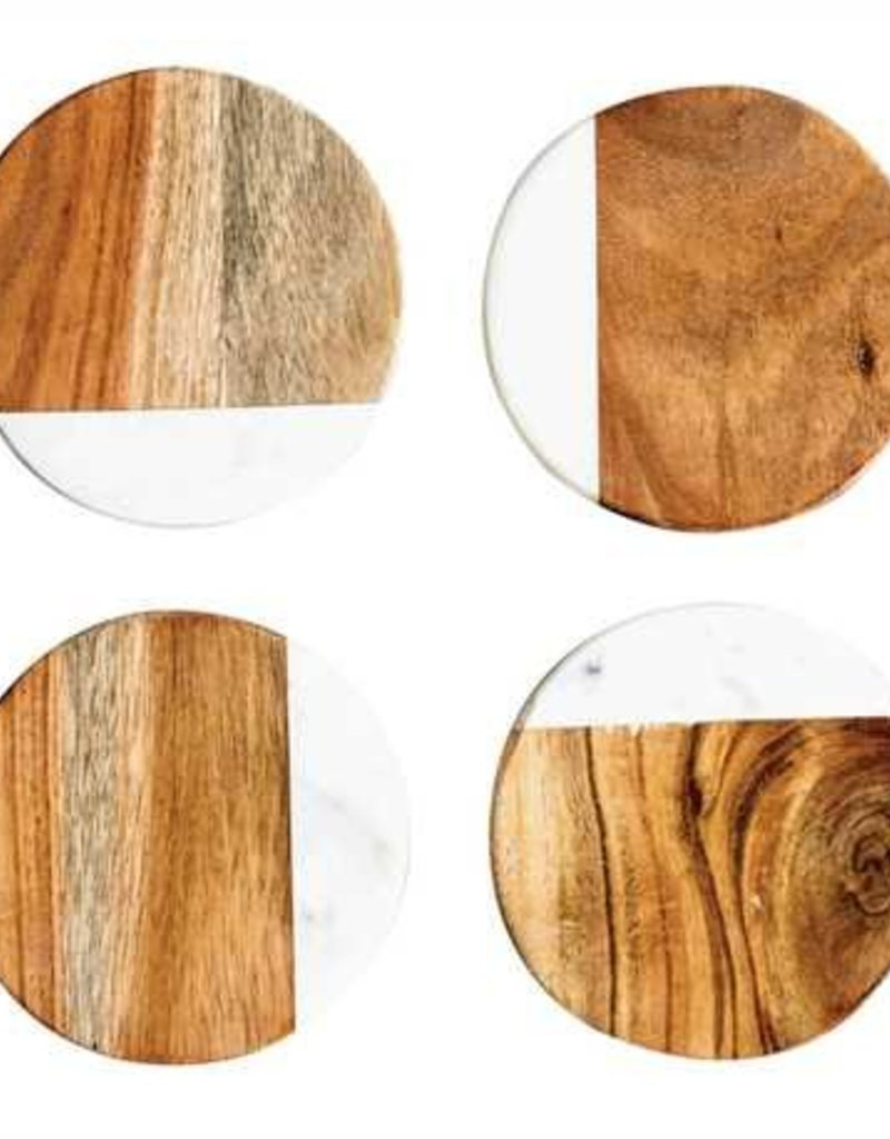 Round Marble Wood Coasters