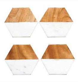 Hexagon Marble/Wood Coasters