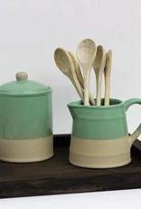 Stoneware pitcher, teal