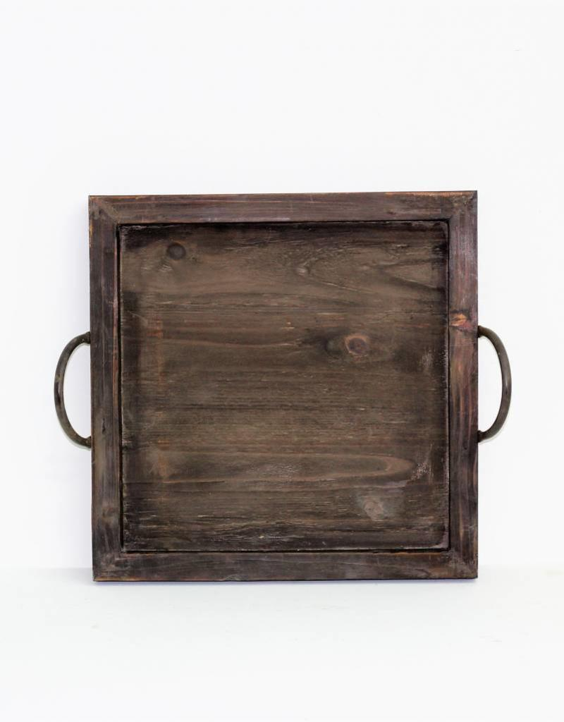 Square Wood & Metal Handle Tray (3 available sizes)