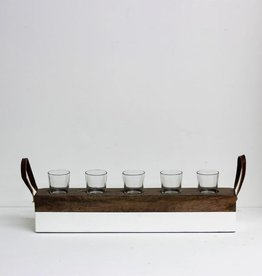 Wood & Enamel Votive Holder