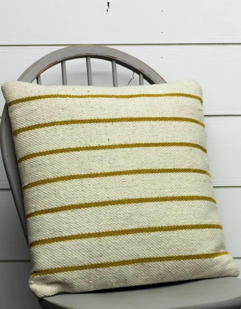 Yellow Woven Striped Pillow