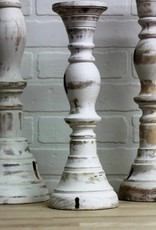 White hand turned candlesticks