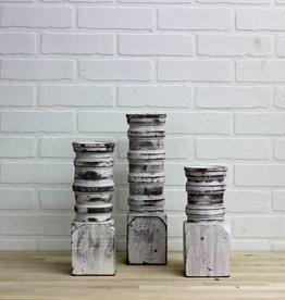 Chunky white washed Candlesticks