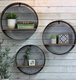 Round Metal/Wood Shelves (Set of 3)