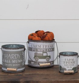 Tin Buckets Round Pumpkin/Mums/Gourds