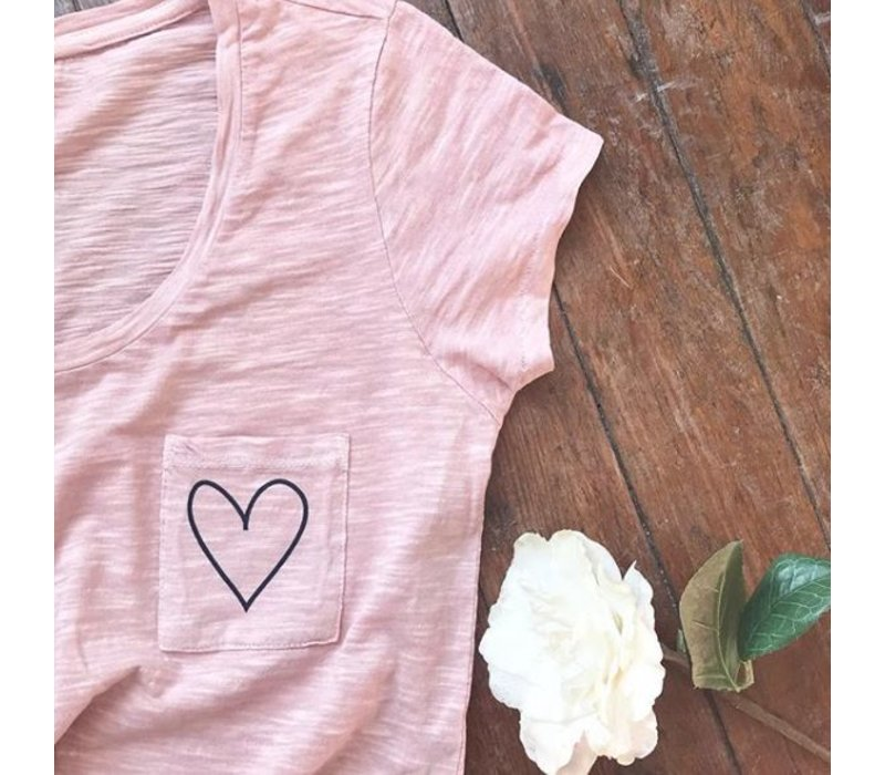 Pink Heart Pocket Tee